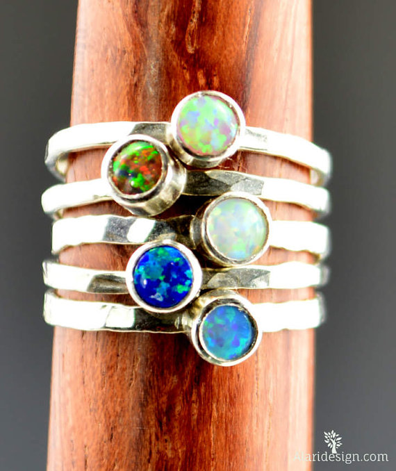 Blue Opal Ring Mothers Ring Small Silver Opal Ring Stacking Ring Sterling Opal Ring October Birthstone Ring Opal Jewelry