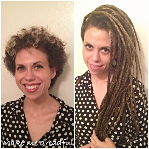 Created Serena 45 dreadlock permanent synthetic extensions to attach to her curly short hair. this process took us 6 hours including sectioning, backcombing, and crocheting.