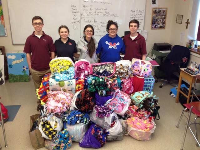 Thankful for the 75 Mounties that showed true compassion and giving, they made 87 fleece blankets for HopeFullRI to bring to the foster children at Adoption RI! Thank you Mount Saint Charles Academy students and adults for choosing our organization, coordinating this event and making so many children happy!