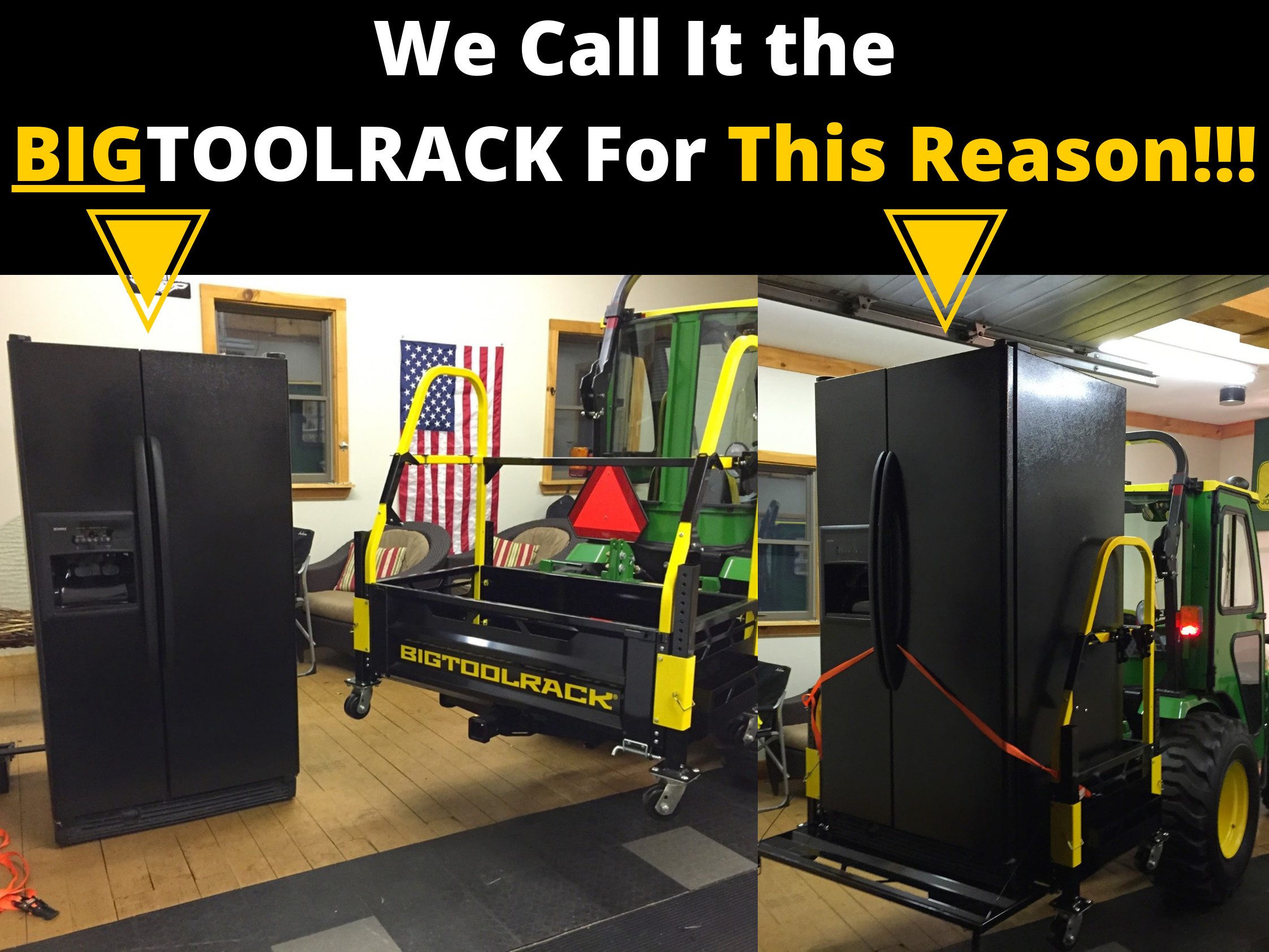 Bigtoolrack tractor carry all counterweight traction ballast box unloading and loading with tractor