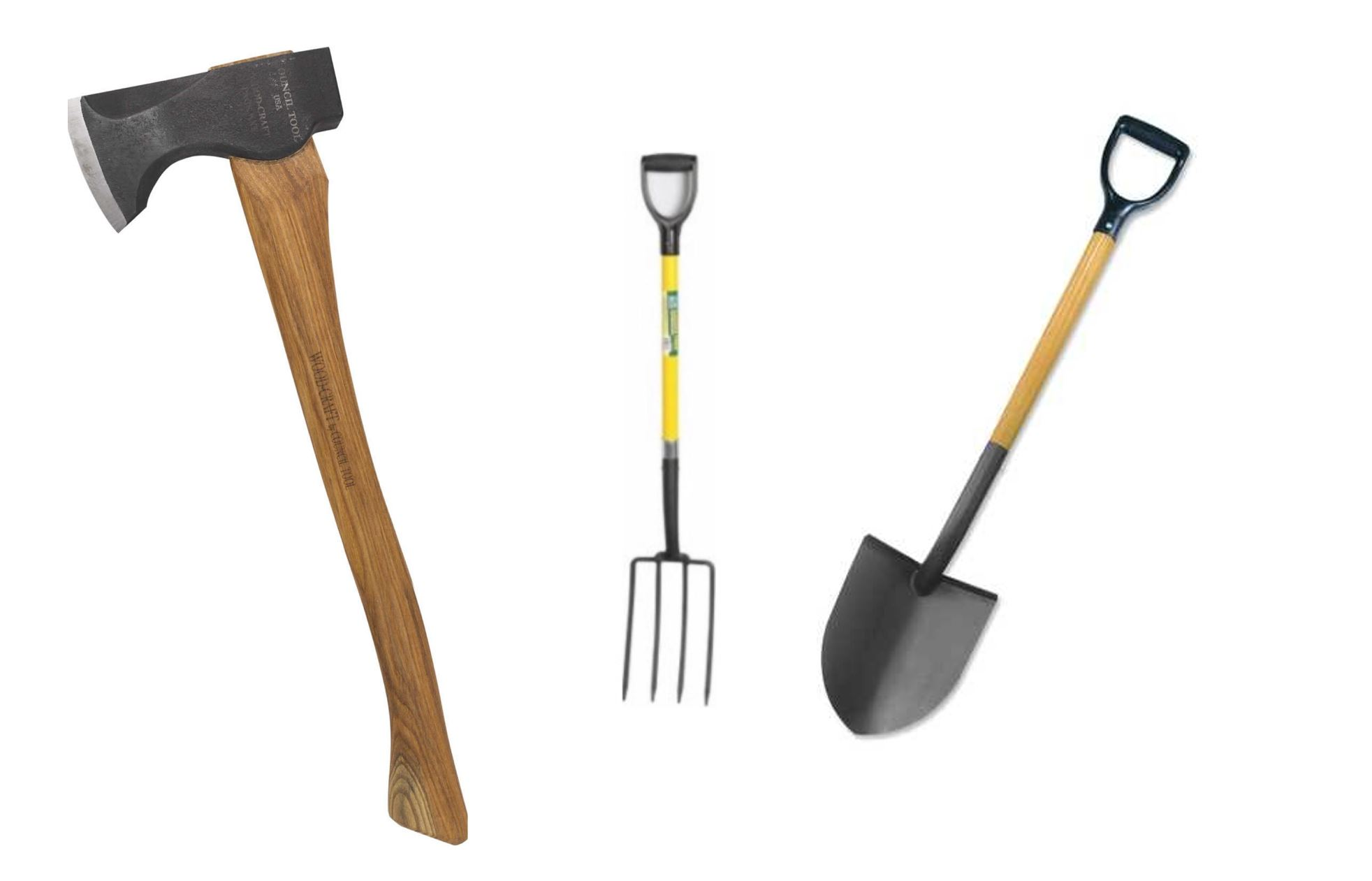 Securely Carry any combination of 3 large handle shovels, rakes, brooms, axes using our universal tool holders with rubber straps