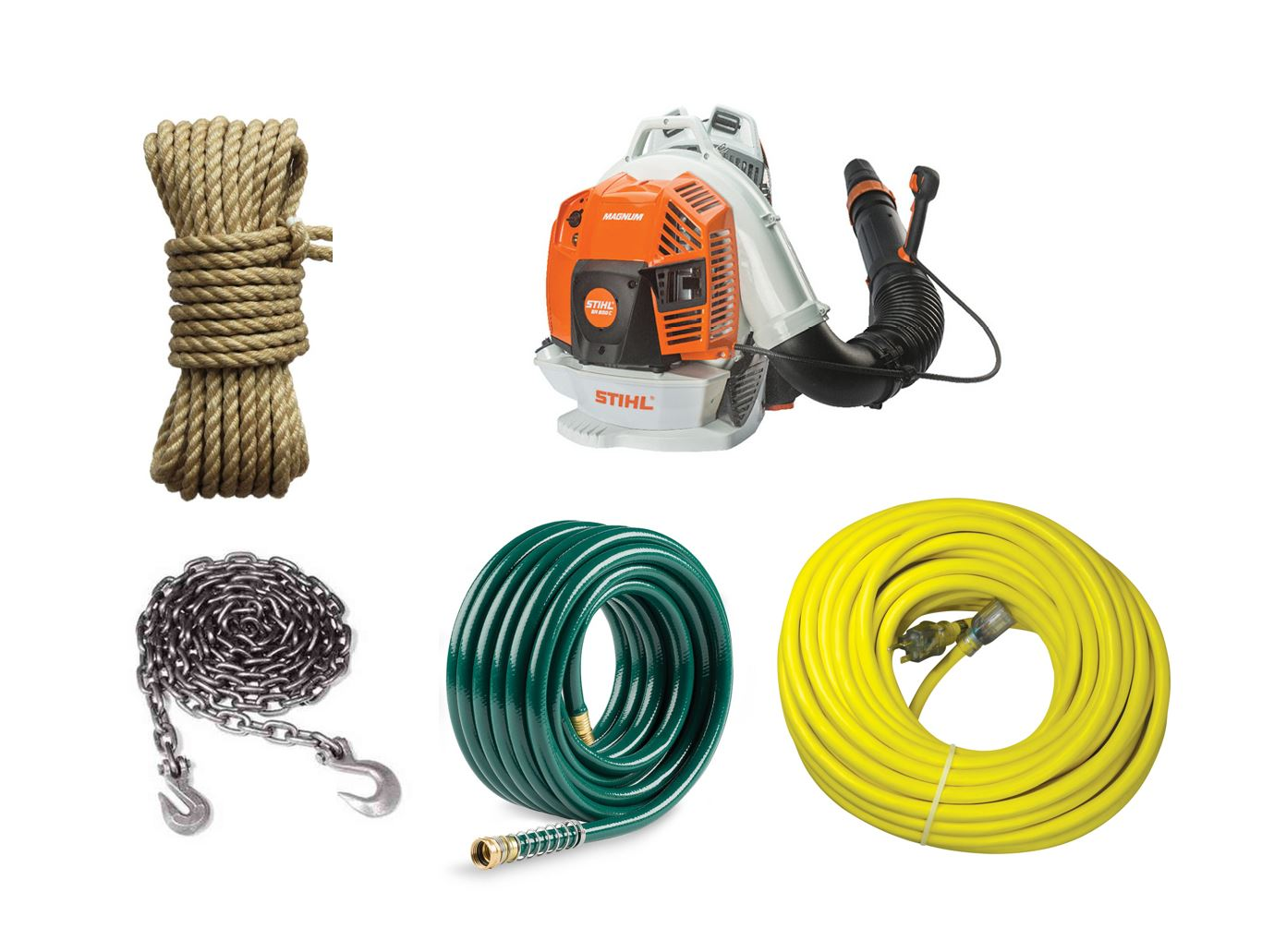 Carry Coils of rope, chain, garden hose, extension cords, air hose, even hook your leaf blower on using our 2 side mounted universal drop down hooks