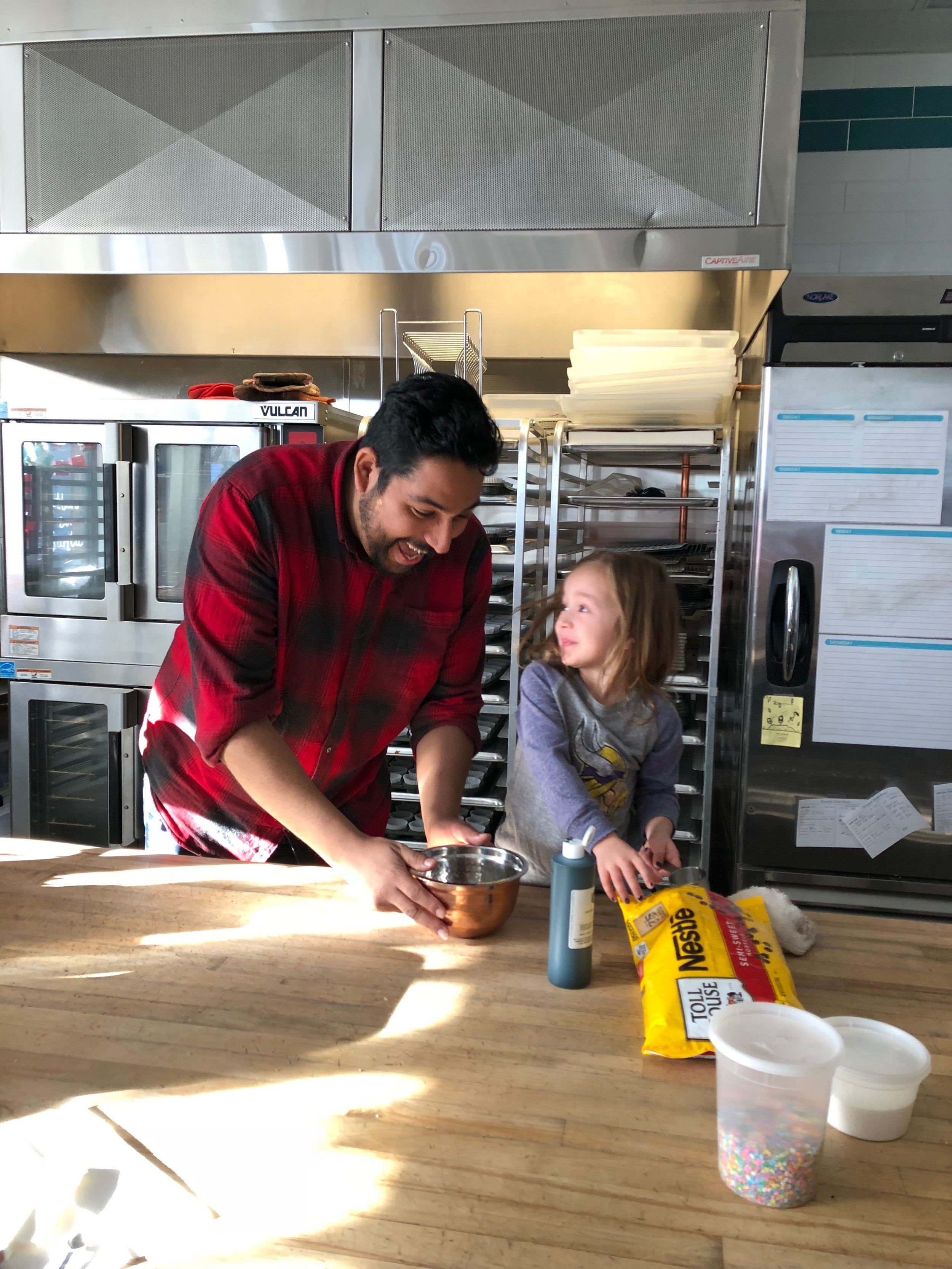 Caleigh and Derek whipping up some yummy cookies!