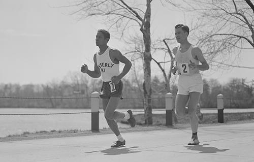 Ellison 'Tarzan' Brown running in a marathon. Courtesy of the Boston Public Library, Leslie Jones Collection.