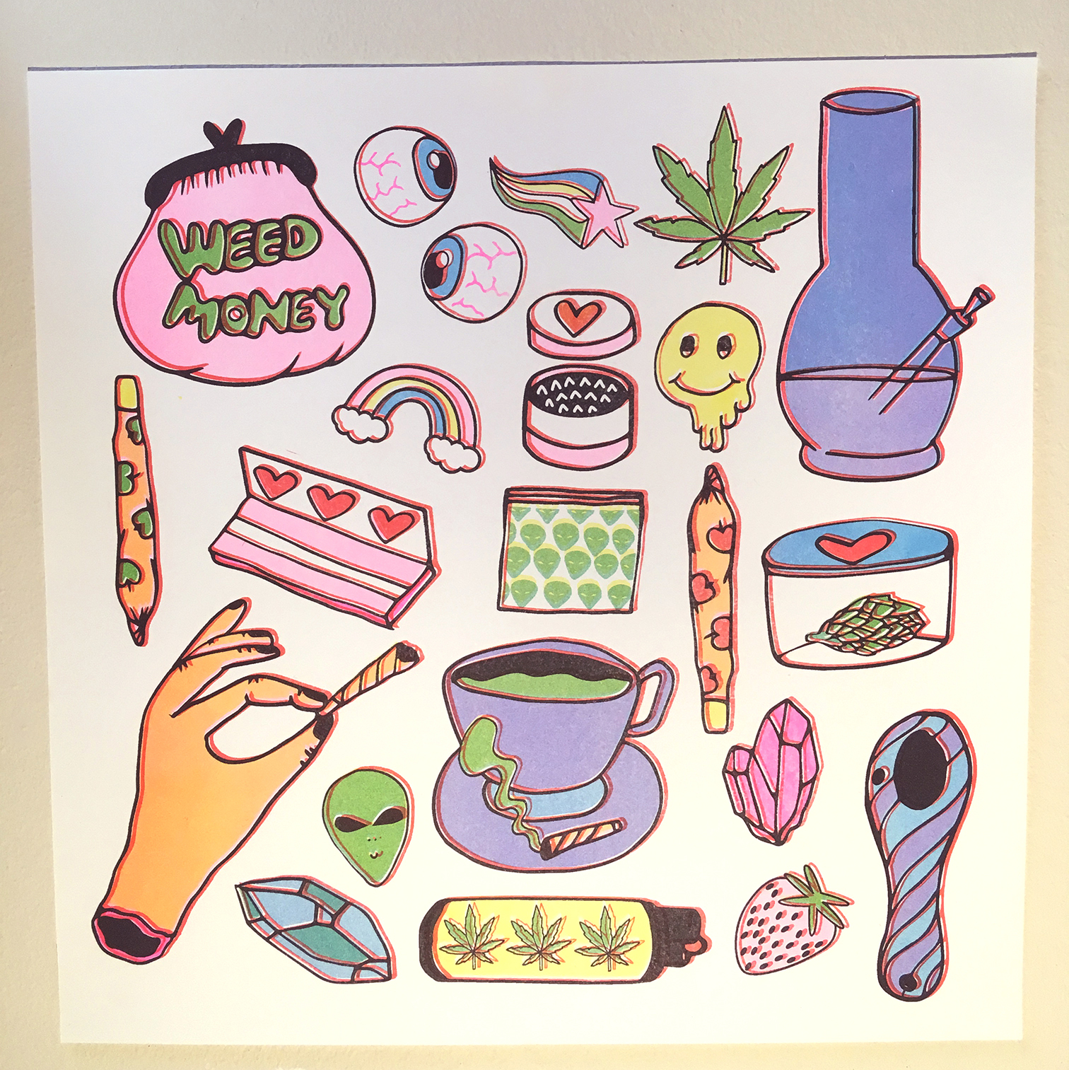 WEED MONEY RISO PRINT