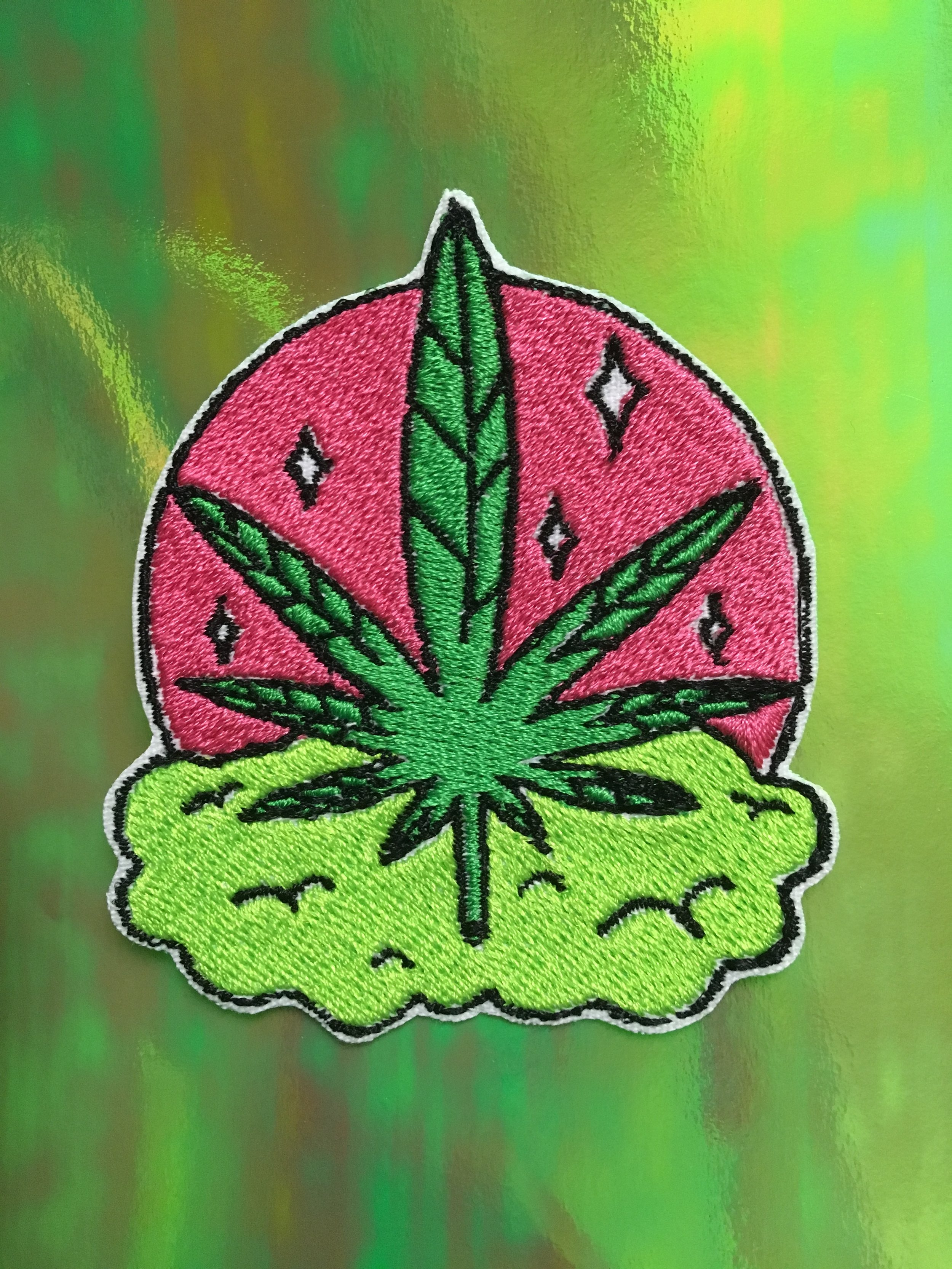 CANNABIS EMBROIDERED PATCH
