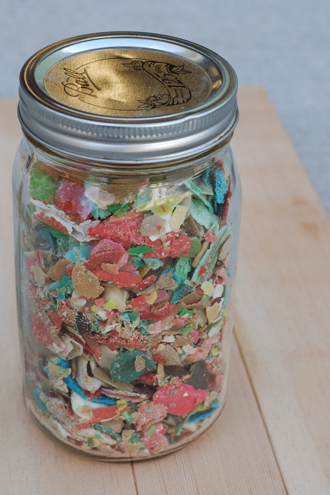 This jar of gum was pulled from just a few bleachers being repurposed into wide plank Grandstand Fir Flooring.
