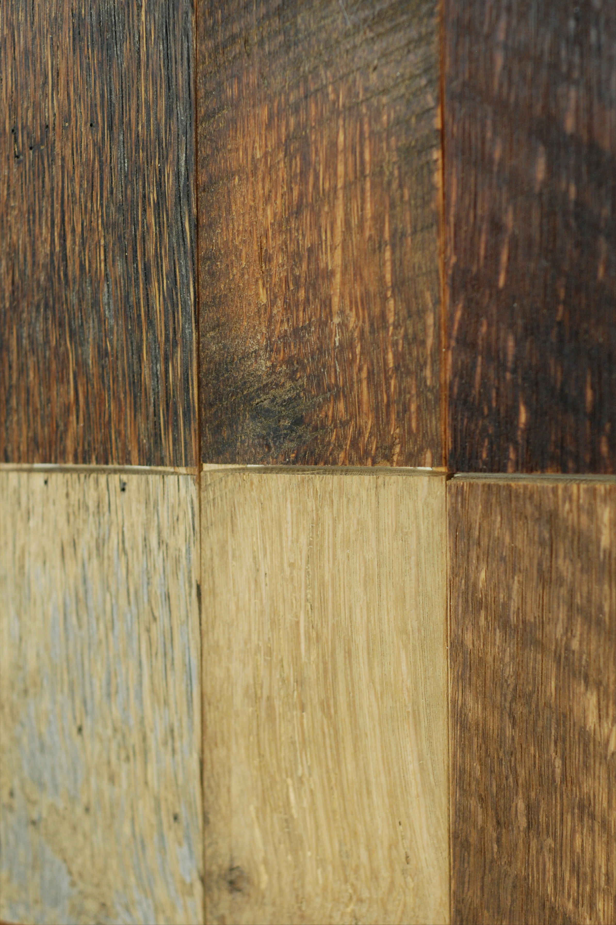 Sawmill Oak: Bottom half unfinished, top half finished with clear natural oil.