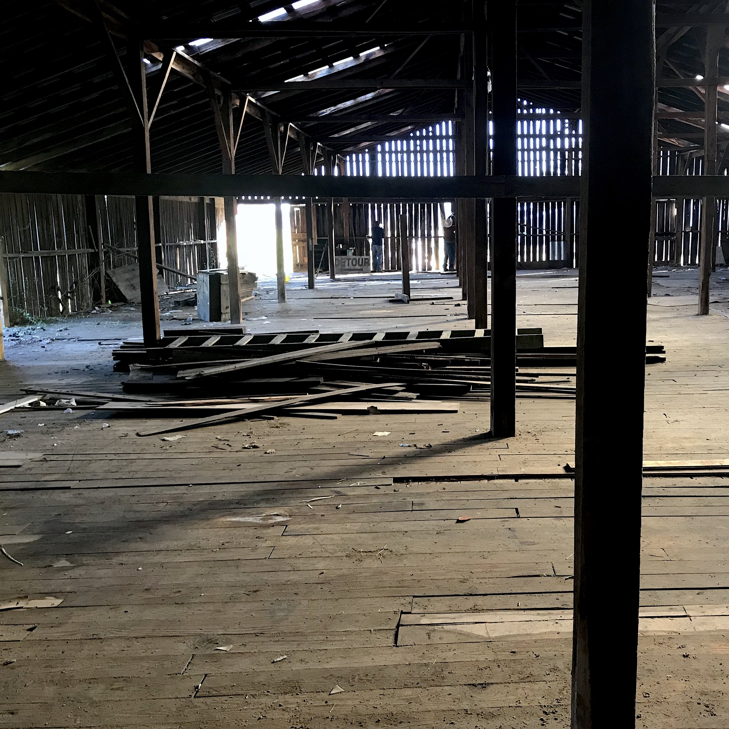 Interior of an old barn taken down as a source of our Sawmill Oak.