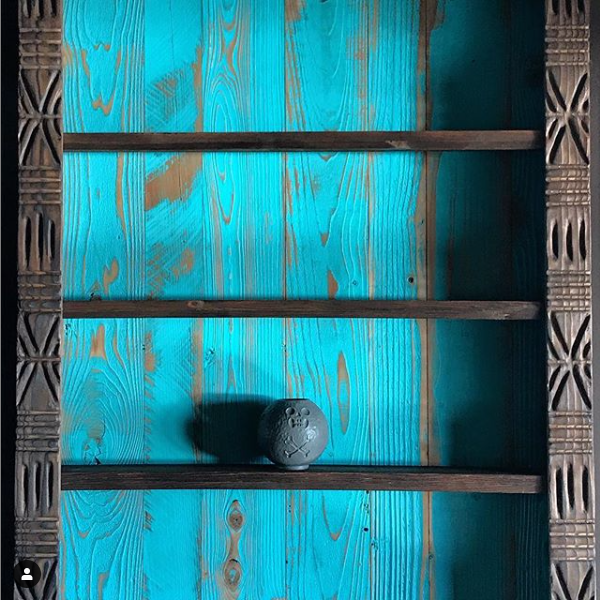Aqua Blue Surfrider Redwood Wall paneling adds texture and a pop of color to interiors.