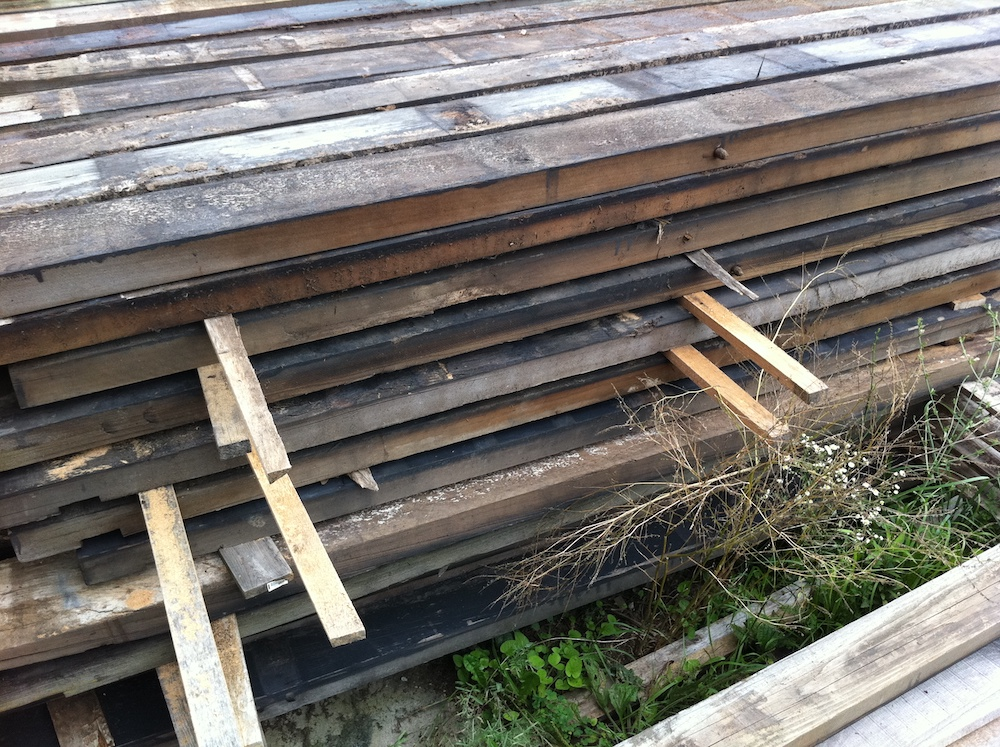 Redwood reclaimed for wall paneling