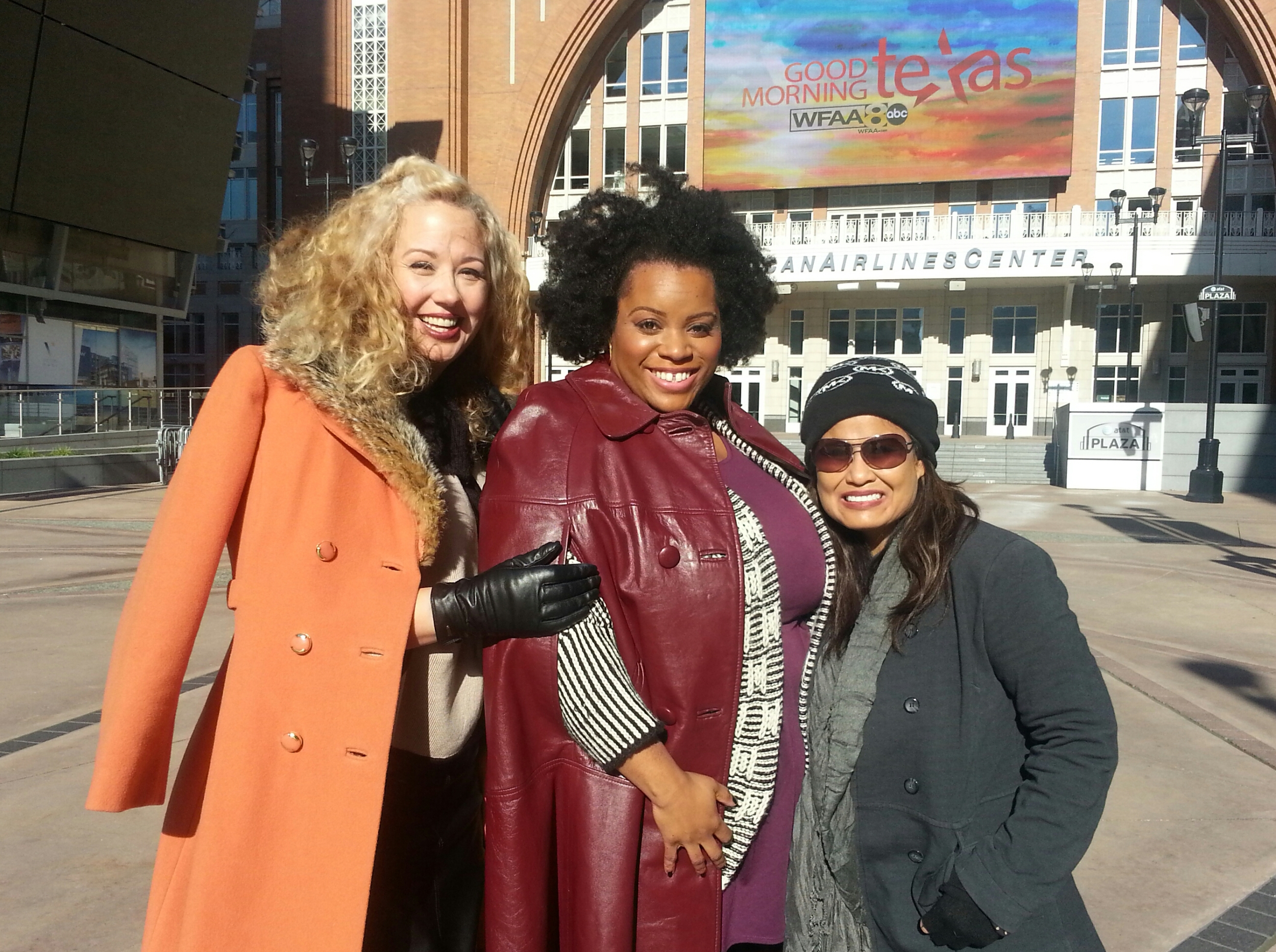 With Dallas stylist, Jeannette Chivvis and Hair/Makeup Artist, Paige Anderson after 'Good Morning Texas' in my 'Oxblood' leather cape.