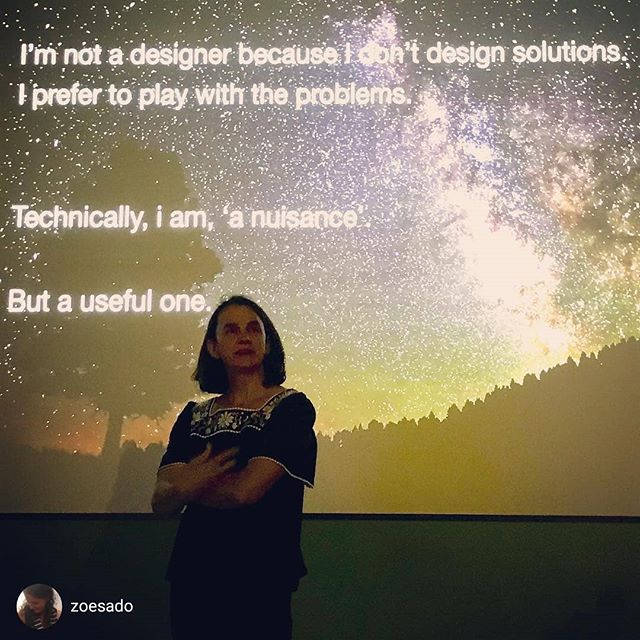 Doing 'thoughtful' at @utsdab 💞 📷 repost via @zoesado Useful nuisance @teaelleu says the most practical 21stC skill is dramaturgy: how to bring people into an experience, and what to expect of them.