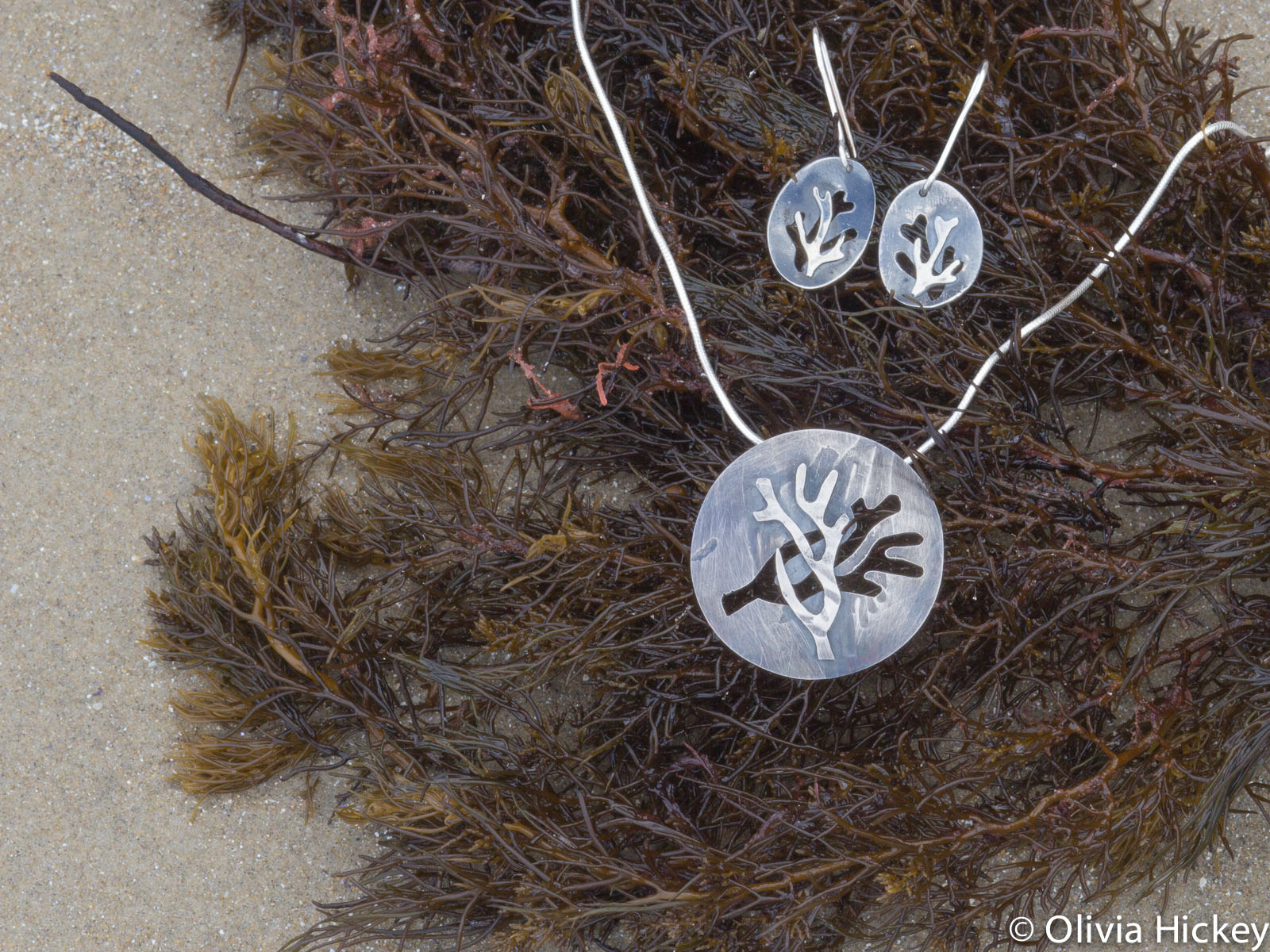 Seaweed pendant and earrings