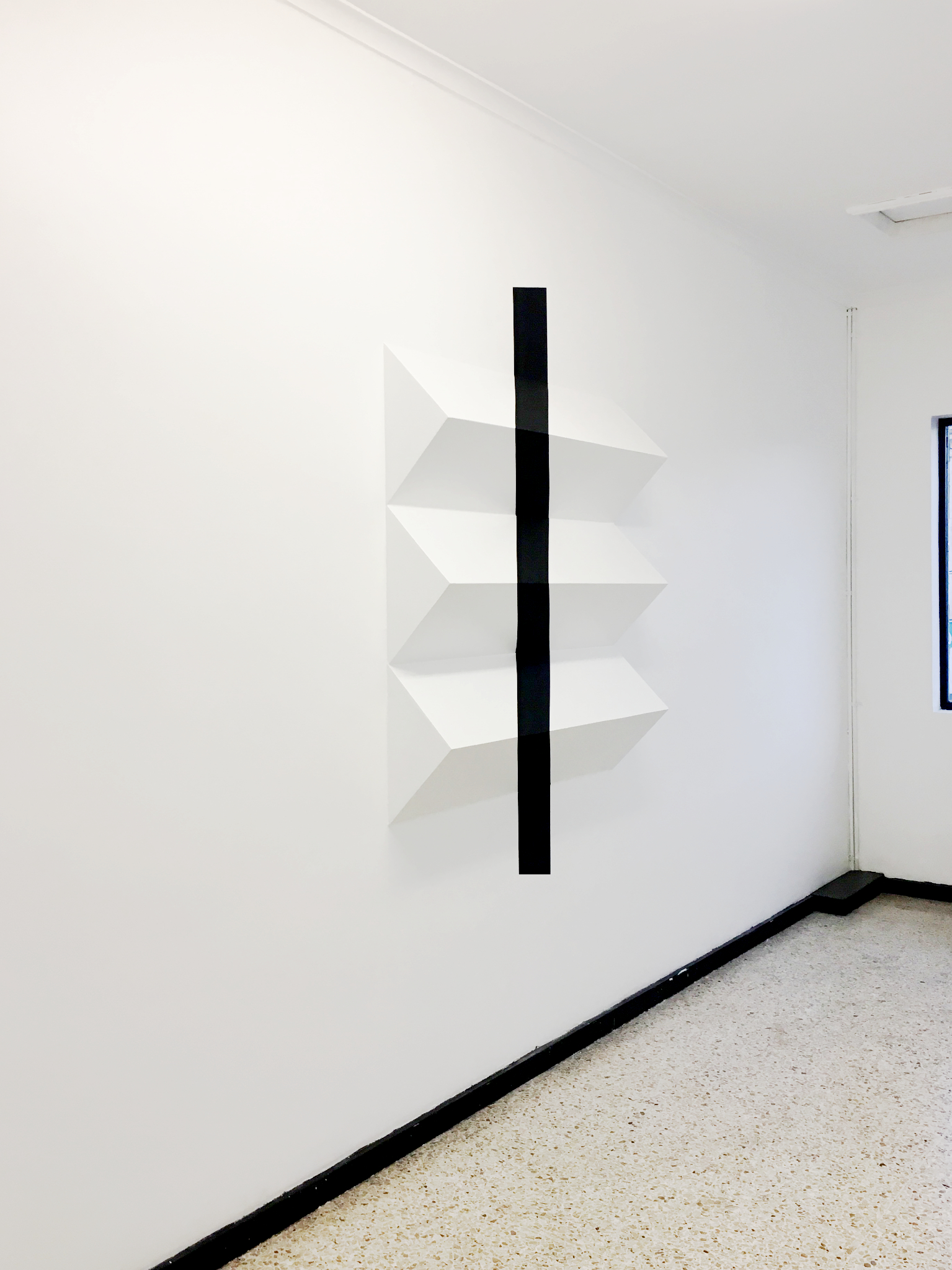 """""""Fold""""  Plywood and Paint  Modification of Wallspace, Trocaderro Art Space  Feb -July 2017"""