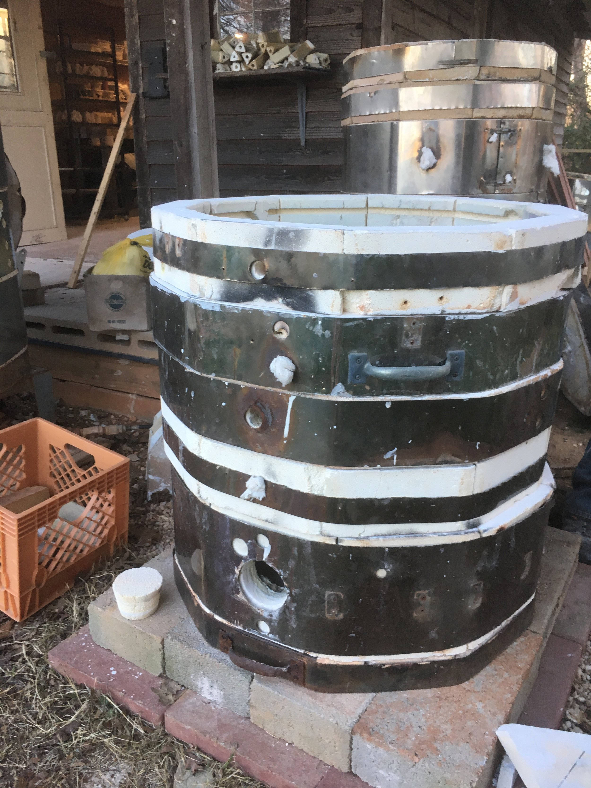 The body of the soda kiln. The kiln could be made larger or smaller depending on the number of rings that are stacked.