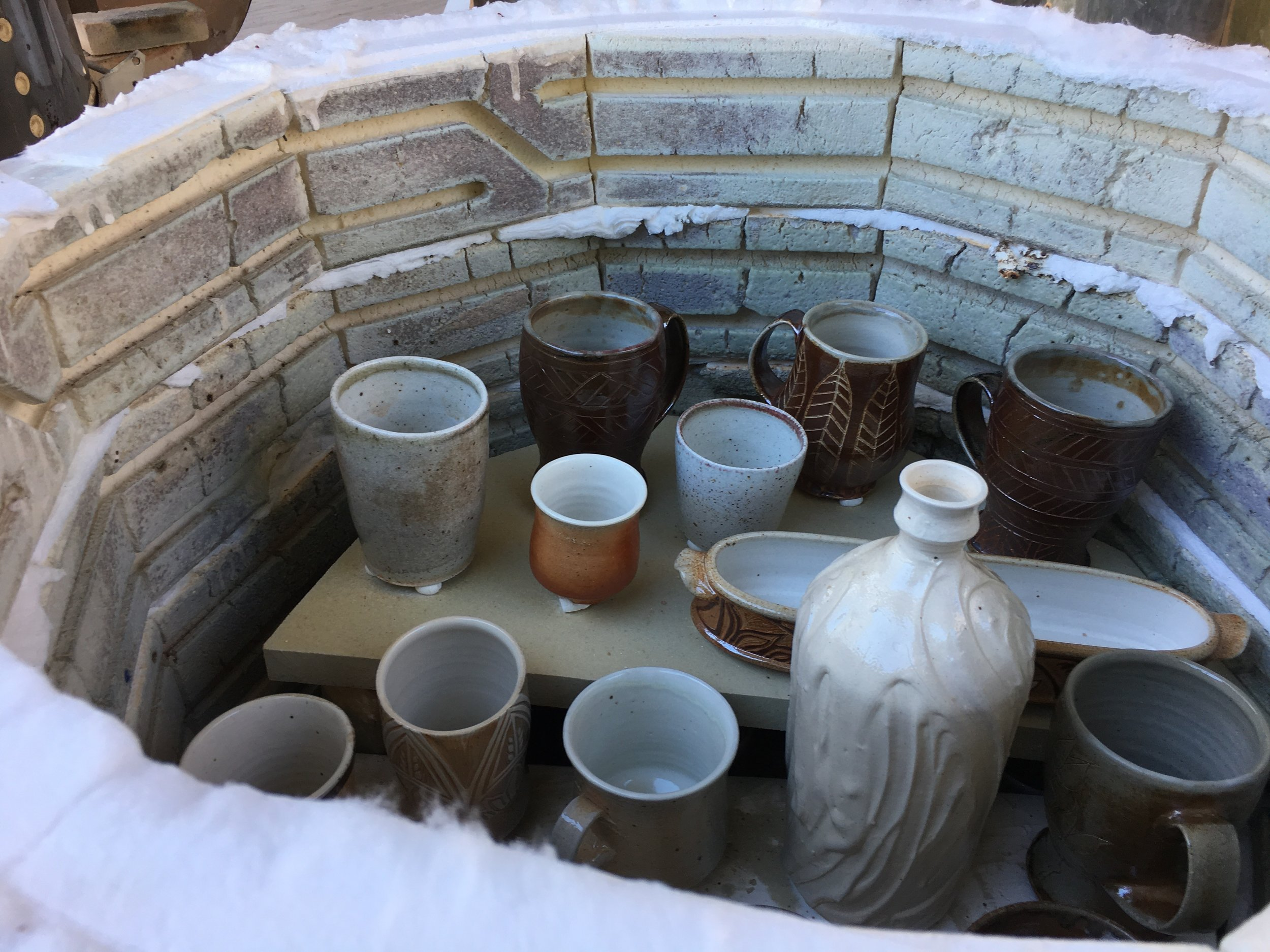 Kiln Chistmasukkah was well received! It looked remarkably similar to the results of what you'd get from a more traditional soda firing, with just a little less reduction.