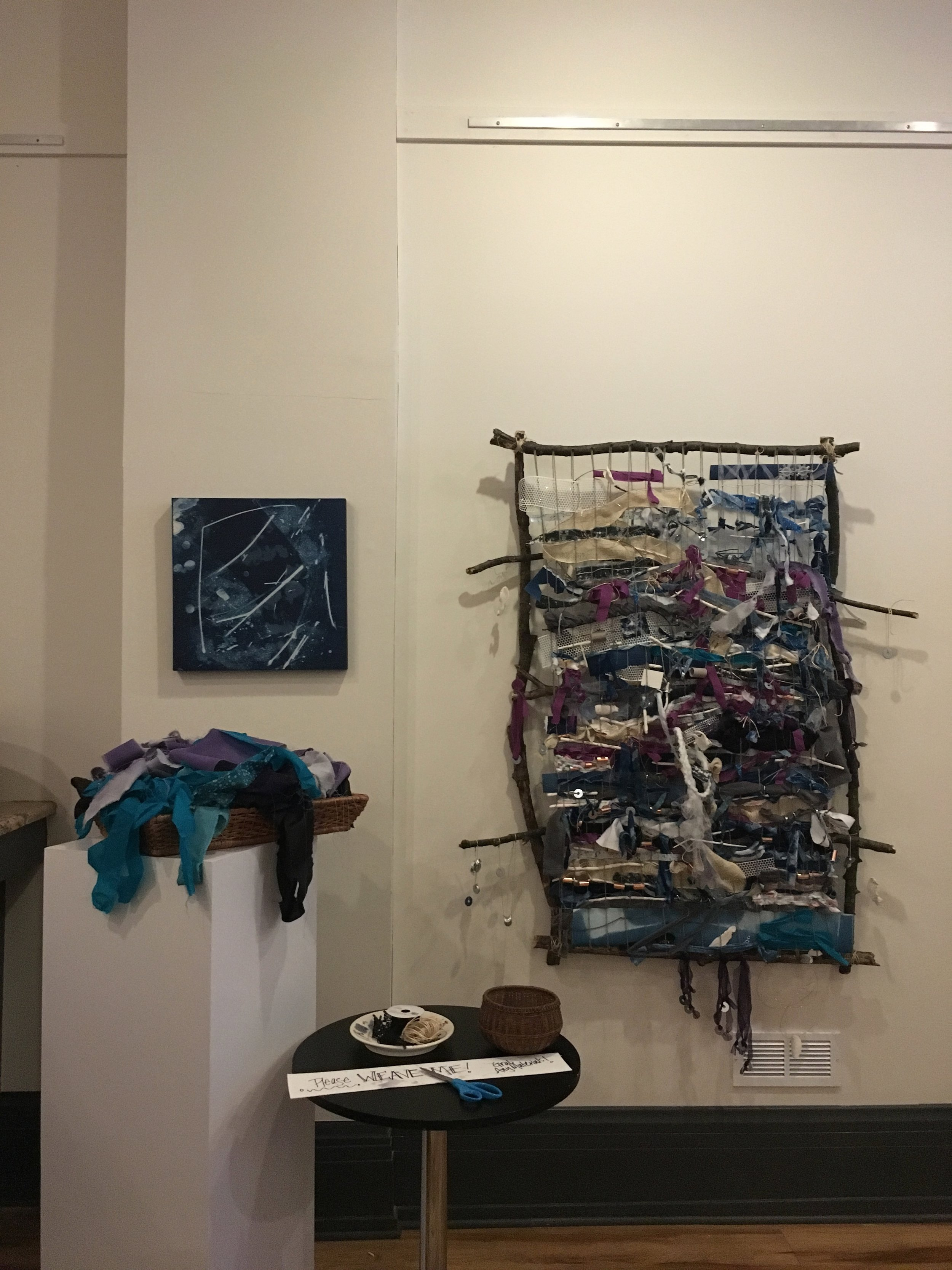 """""""Weaving Winter Light"""" Carrie Breschi's Community Project. Each artist contributed materials that participants would weave into or incorporate onto the branch frame."""