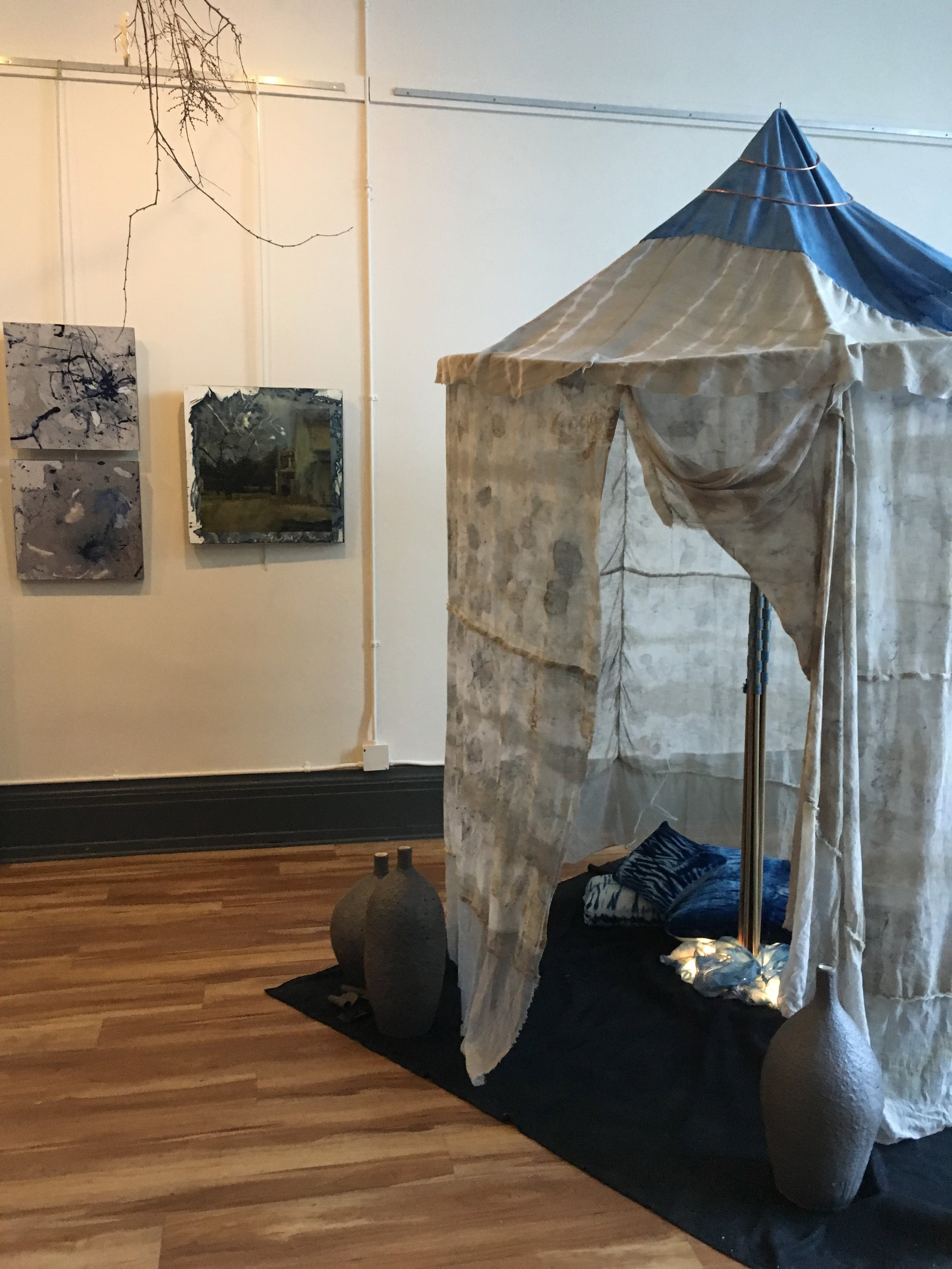 """""""Shelter"""", Bundle Dyed Cotton and Silk. By Carol Reed  Cyanotypes, by Caroline Savage"""