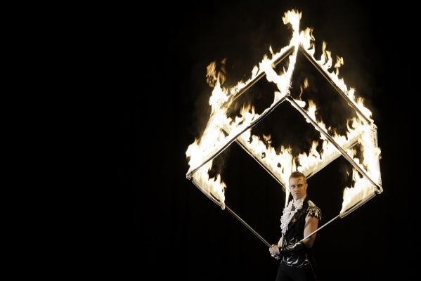 fire cube performer