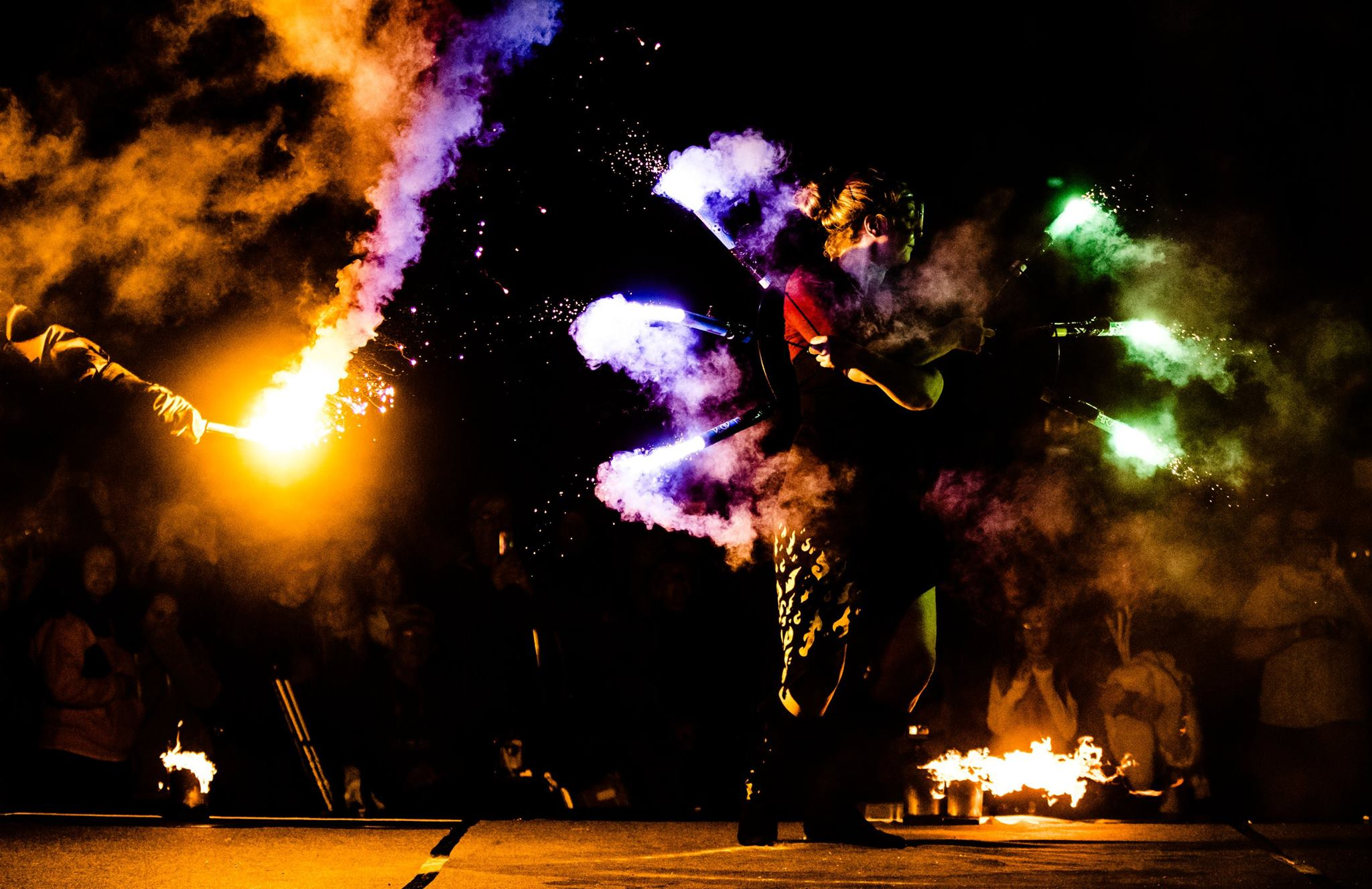 fire dancers with flares