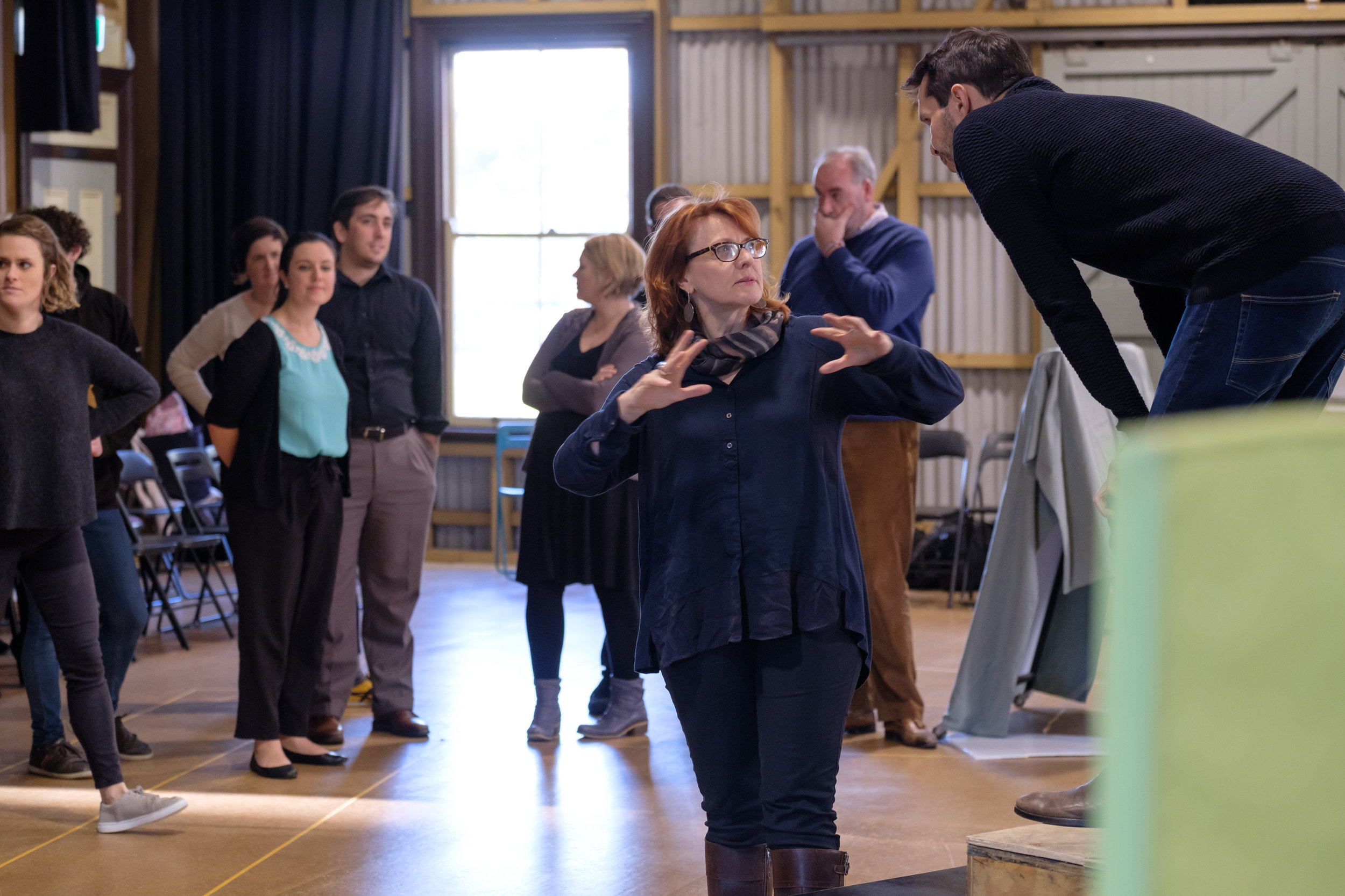 Lindy Hume directing Athalia cast