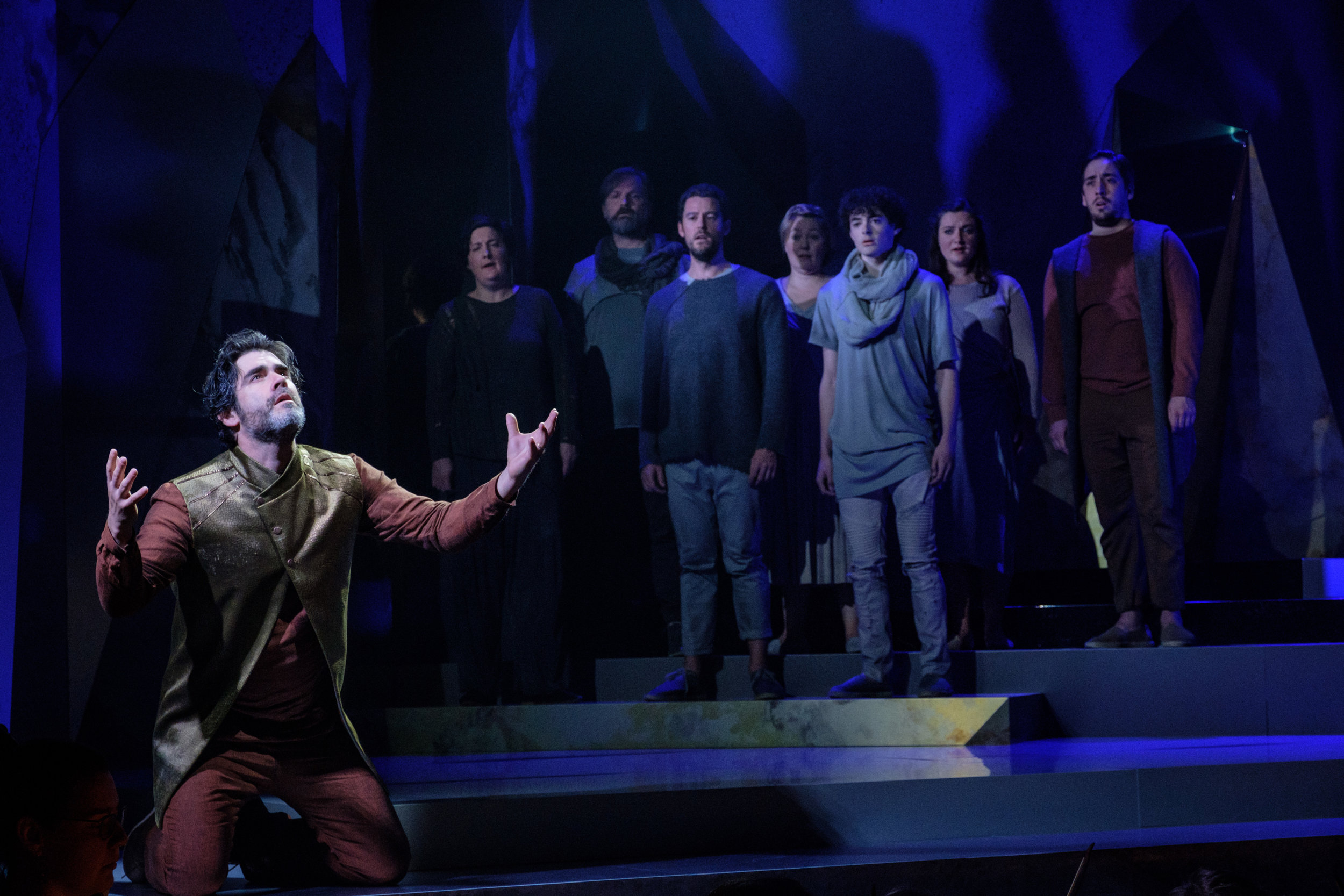 Clint van der Linde as Joad with Chorus. Photo- Robert Catto