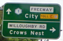 A sign for the Warringah Freeway