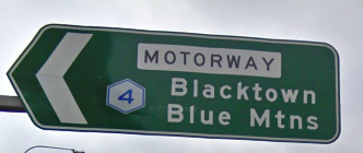 A sign for the M4 (Western Motorway)