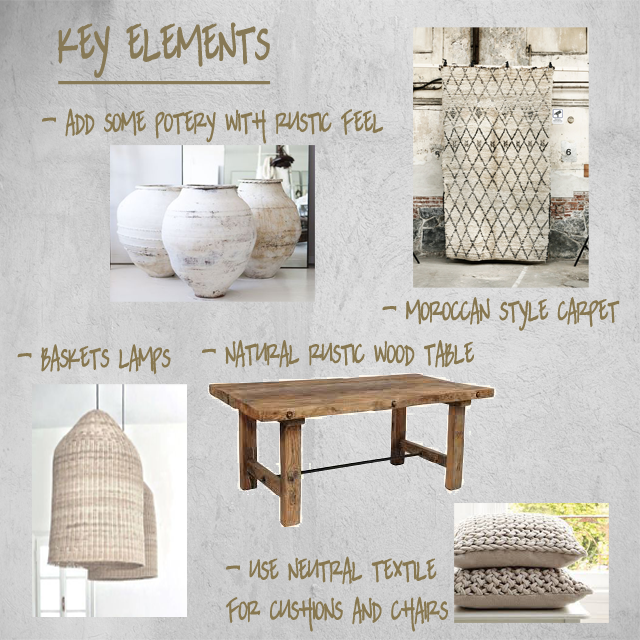 Artisan elements will get the final touch. Pieces like rustic ceramis, bakestry and woven textiles connect with the Natural feeling.