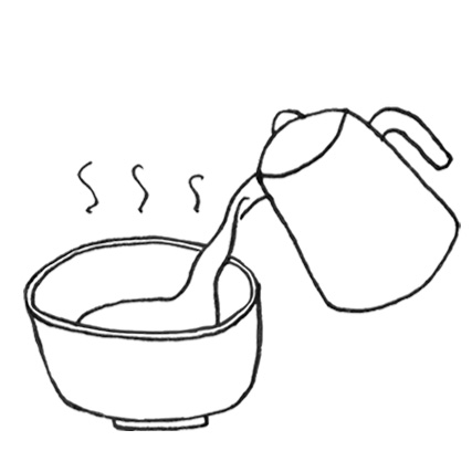 4. Fill the bowl with 80 -100 ml of hot water (pour in gently down the side of the bowl)
