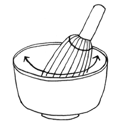 5.Whisk back and forth as if drawing a circle to mix in the matcha.