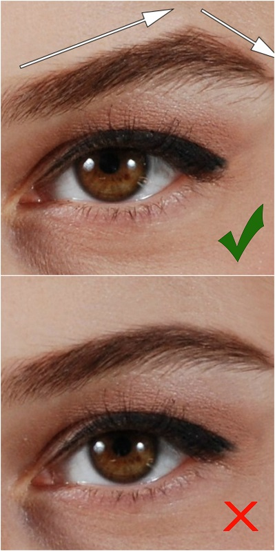 High arched eyebrow look