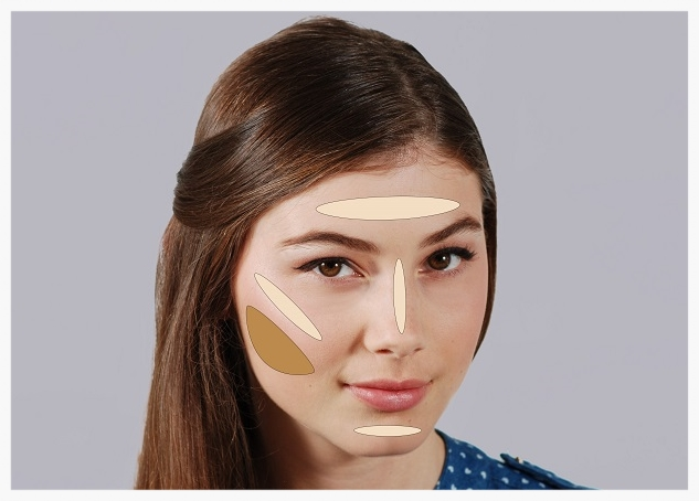 Darker makeup areas for round faces