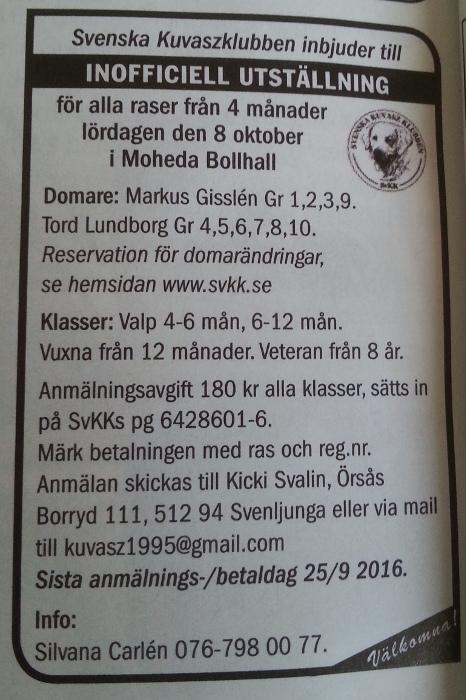 SvKKs inbjudan till inofficiell utställning i Moheda 8 oktober 2016, publicerad i Hundsport nr 9/2016.