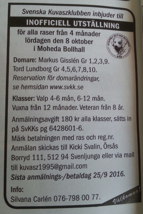SvKK's invitation to its unofficial dog show in Moheda 8 October 2016, published in Hundsport no. 9/2016.
