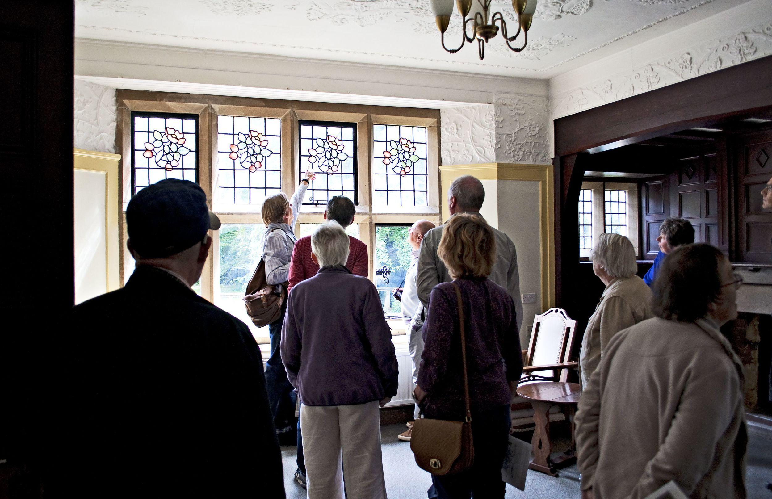 The Edgar Wood Society at Briarcourt - learning about the stained glass