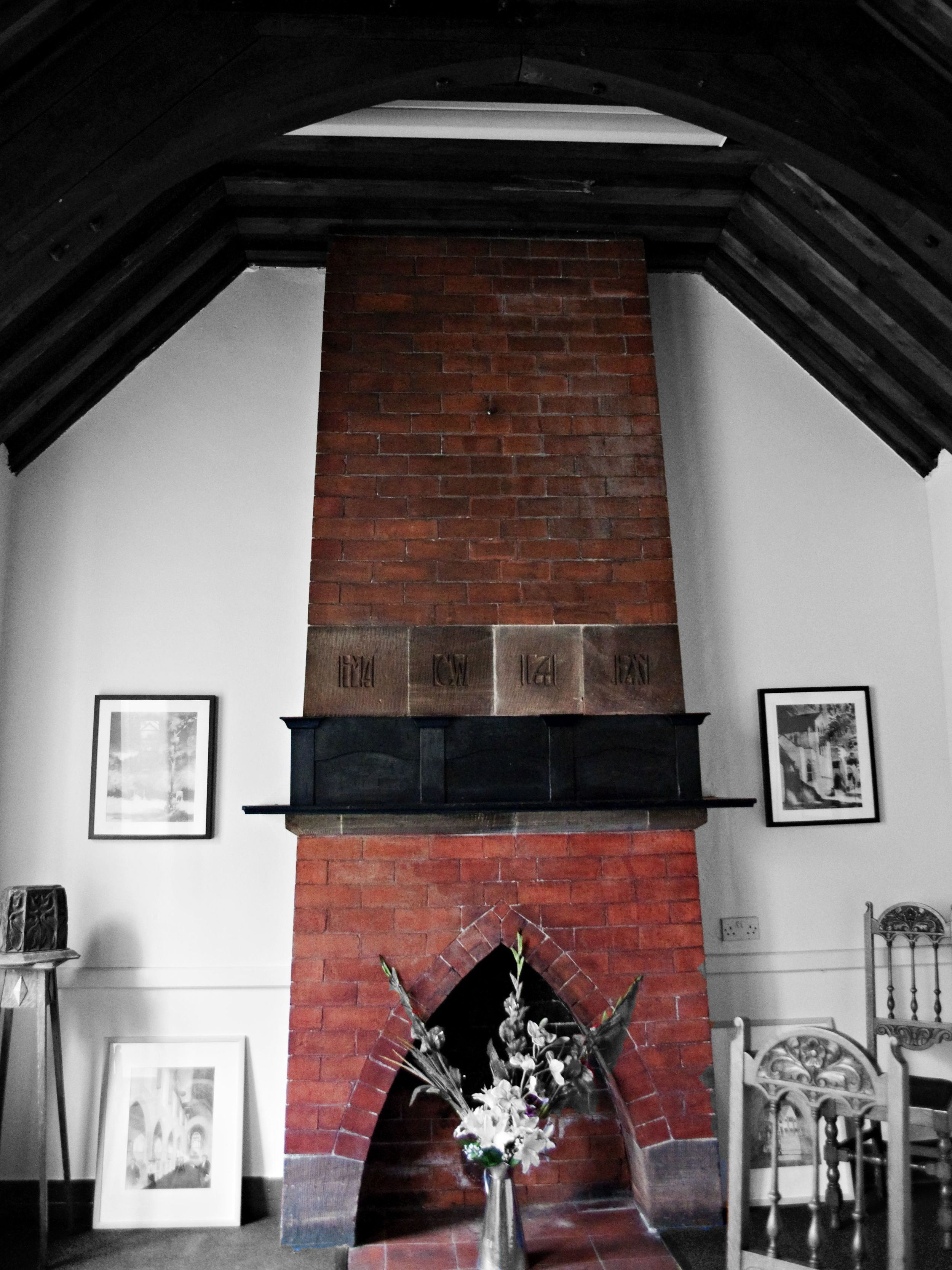 Another favourite of mine - this chimney breastin the Sunday School is pure Arts and Crafts