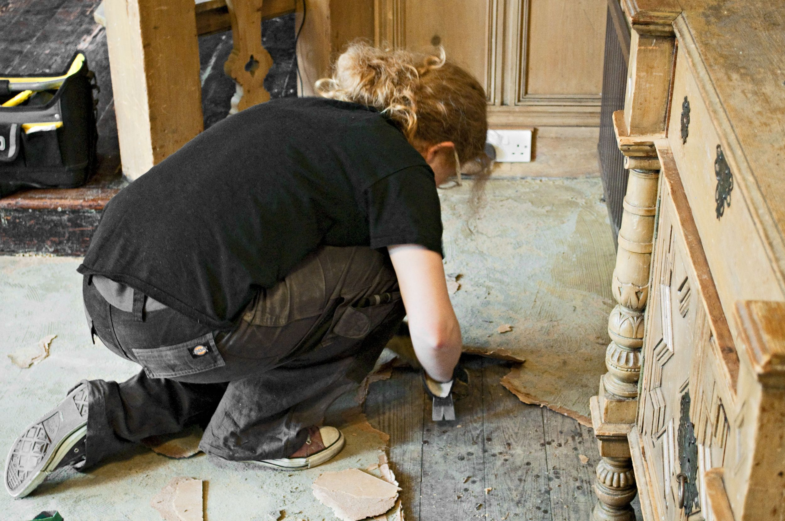 Uncovering the dining room floor