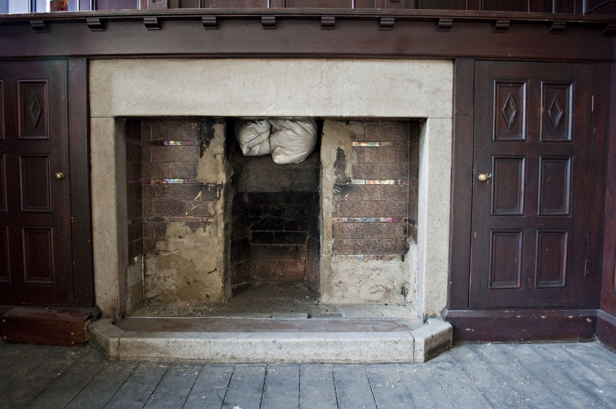 Drawing Room fireplace as it was...
