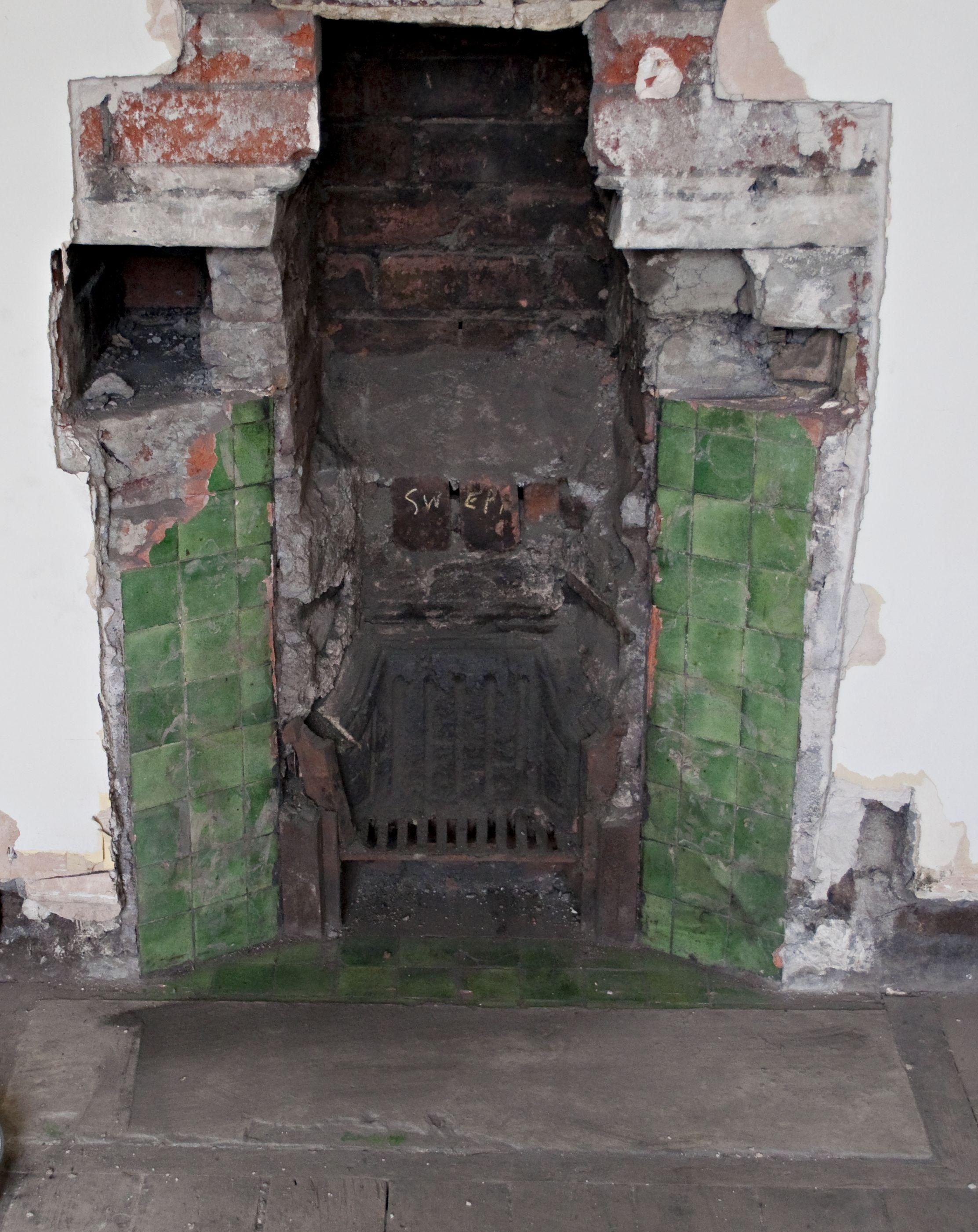 The pea green tiles