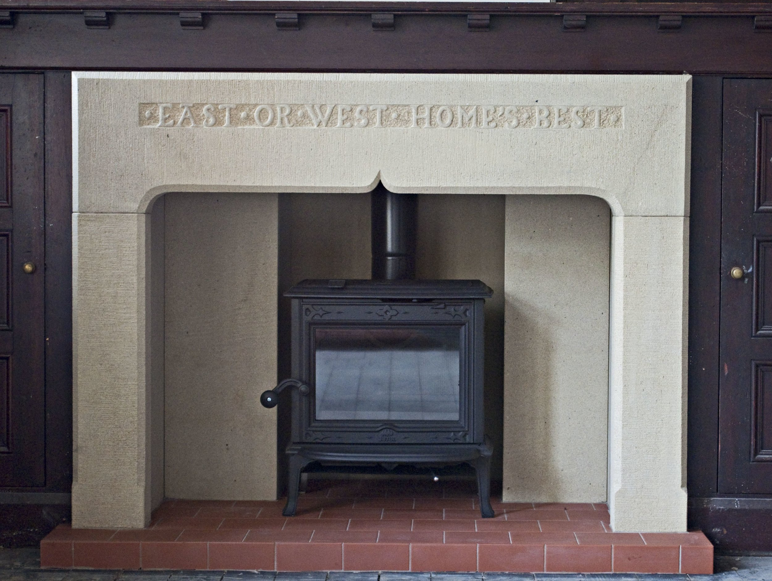 Our new fireplace and stove...just in time for a warm spring!