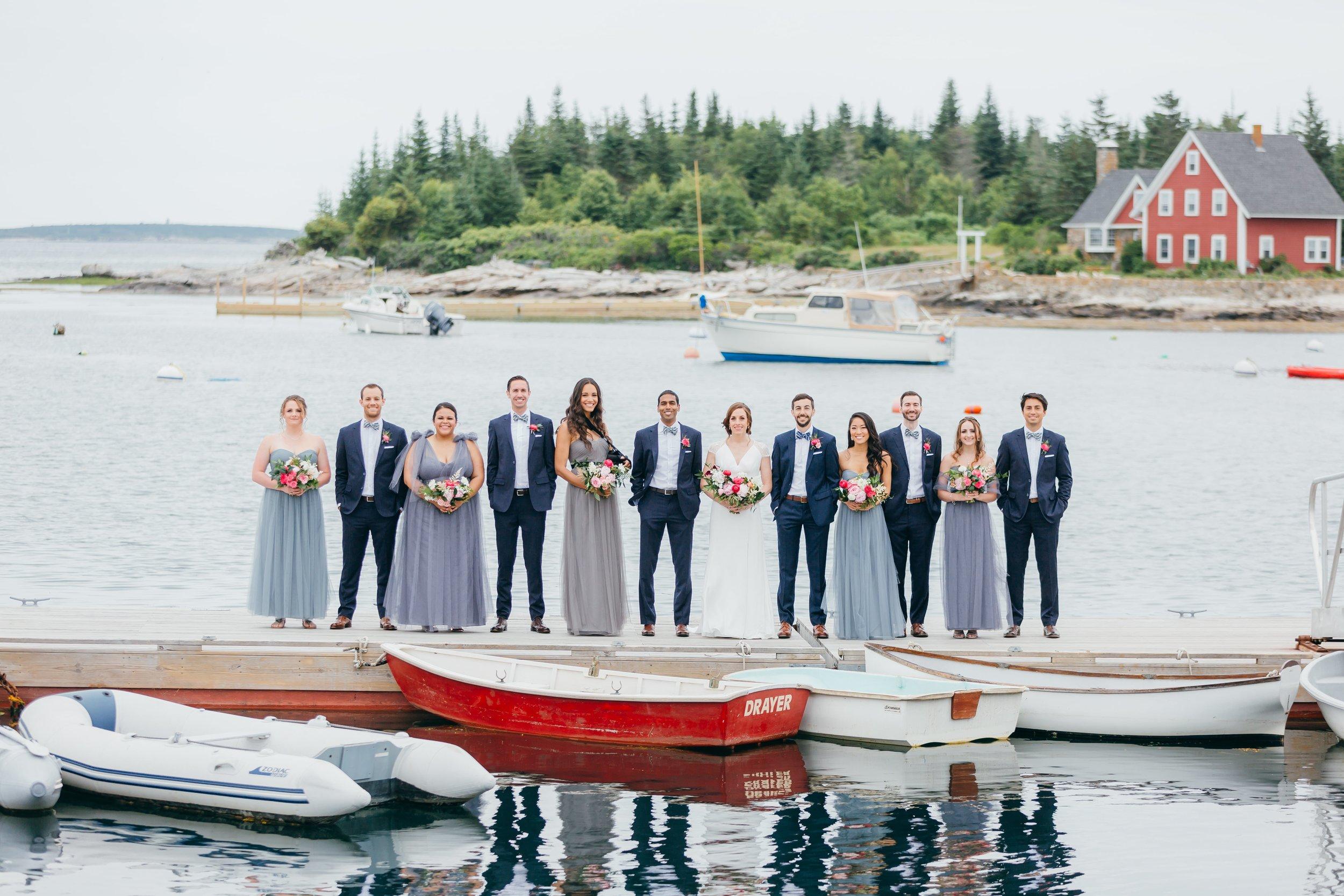 Mirian and John's wedding in Maine. Custom bow ties by Lindman