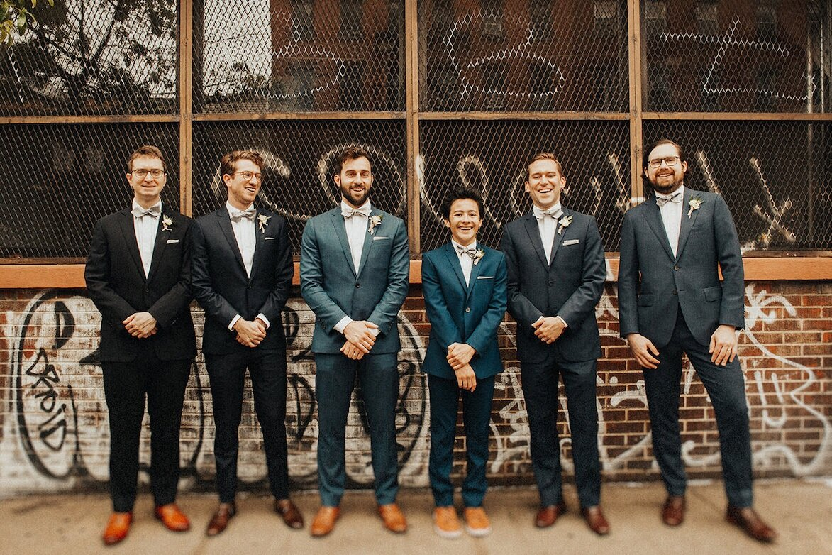 Custom bow ties and pocket squares for a wedding in Brooklyn -