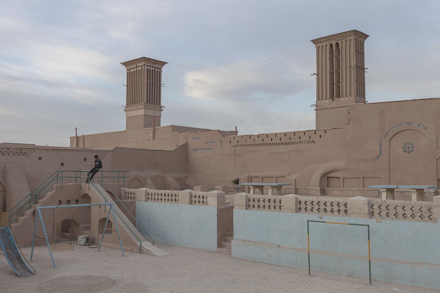 Parque recreativo en la ciudad vieja de Yazd, Irán.