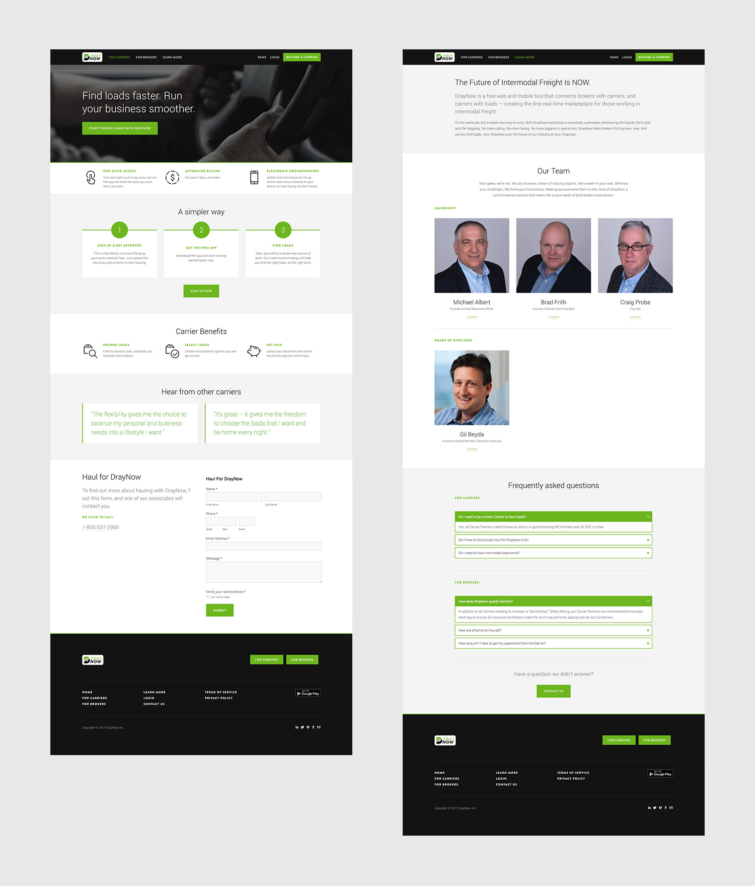Squarespace Trucking Website Project