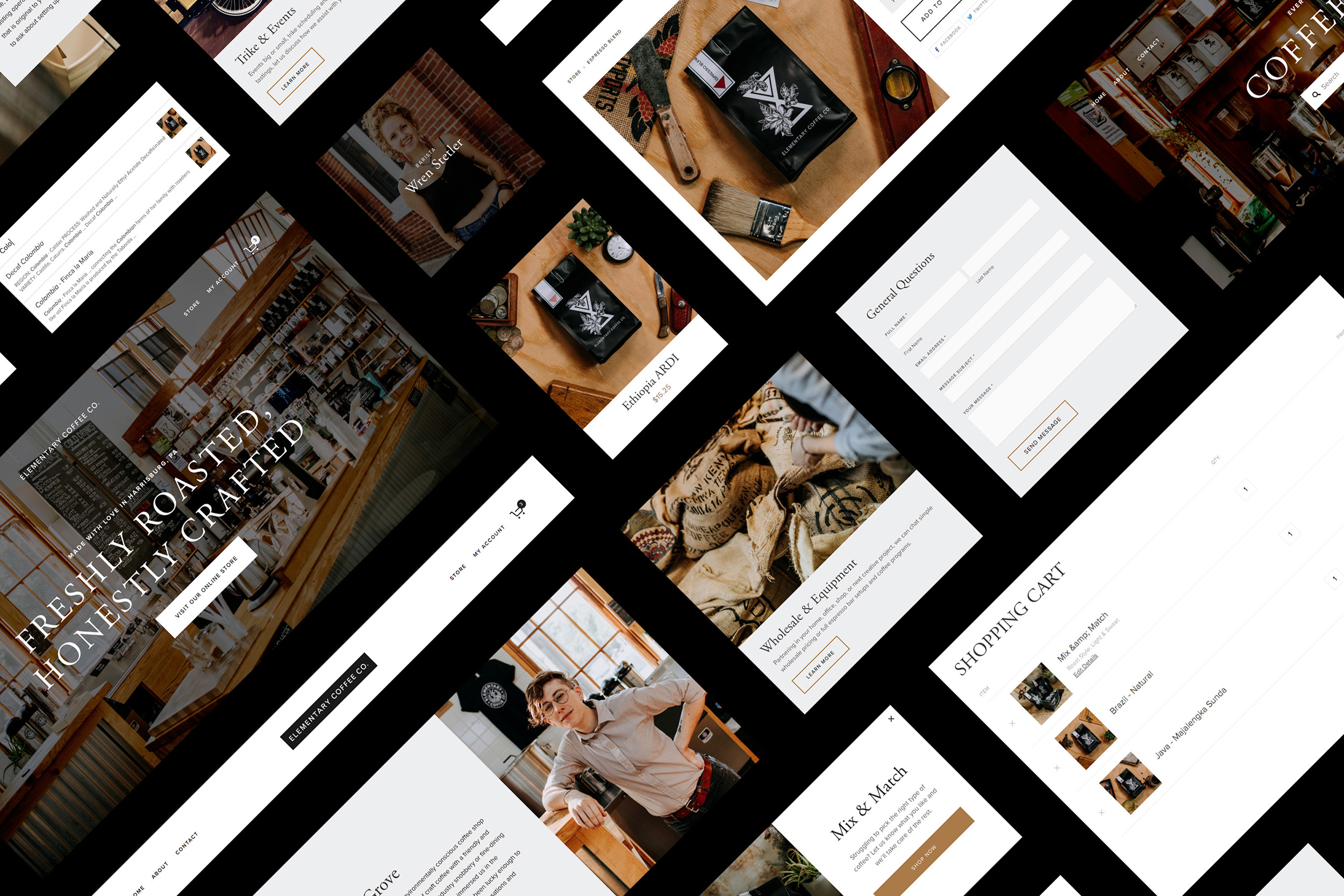 Squarespace Content Blocks for a Coffee Shop Website