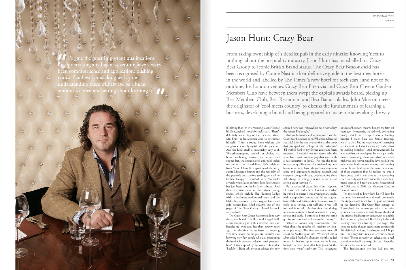 Jason Hunt photographed at Crazy Bear, Beaconsfield for Hospitality Black Book