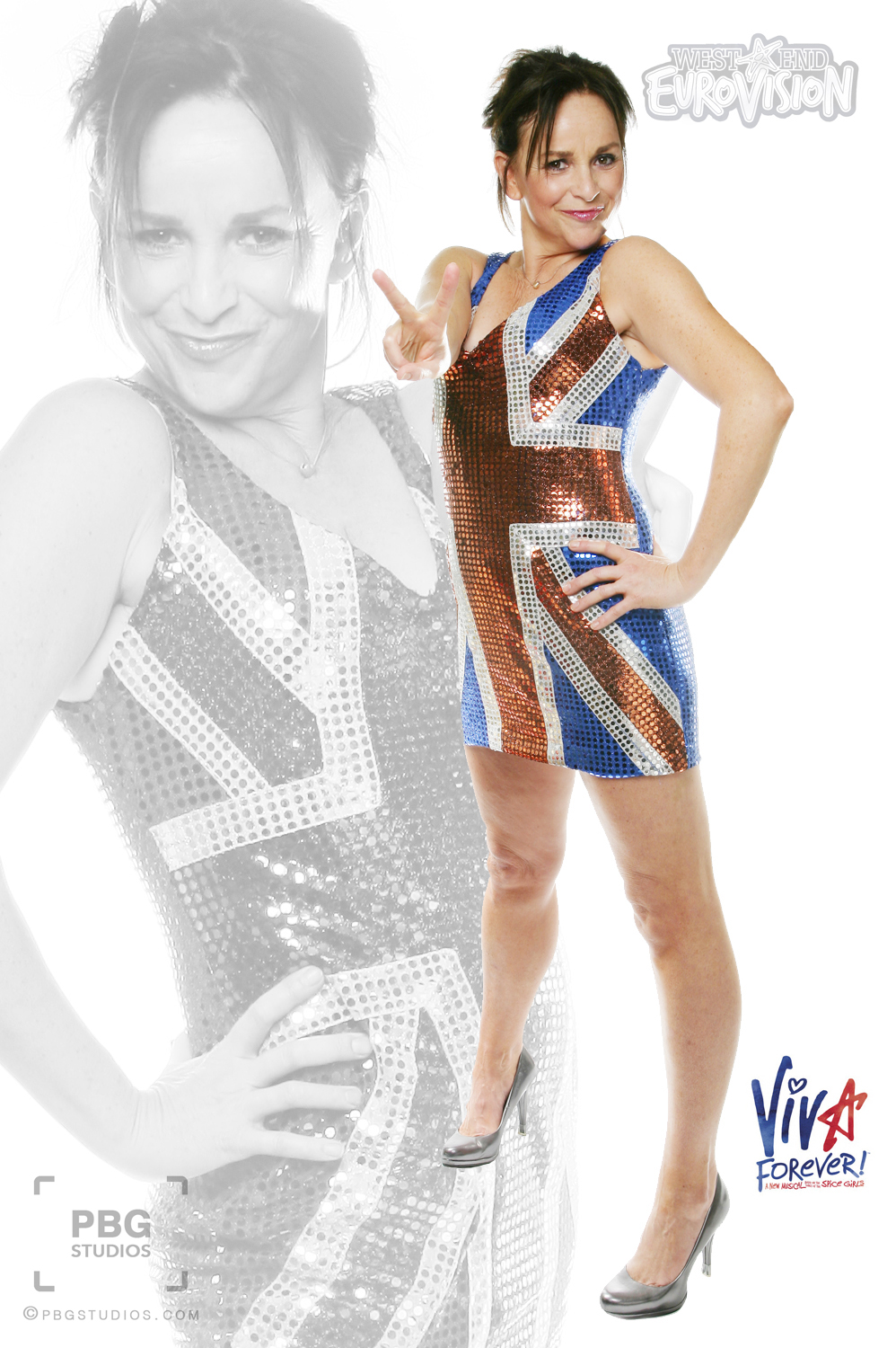 Sally Ann Triplett in Viva Forever costume (photographed at the Piccadilly Theatre) for West End Eurovision