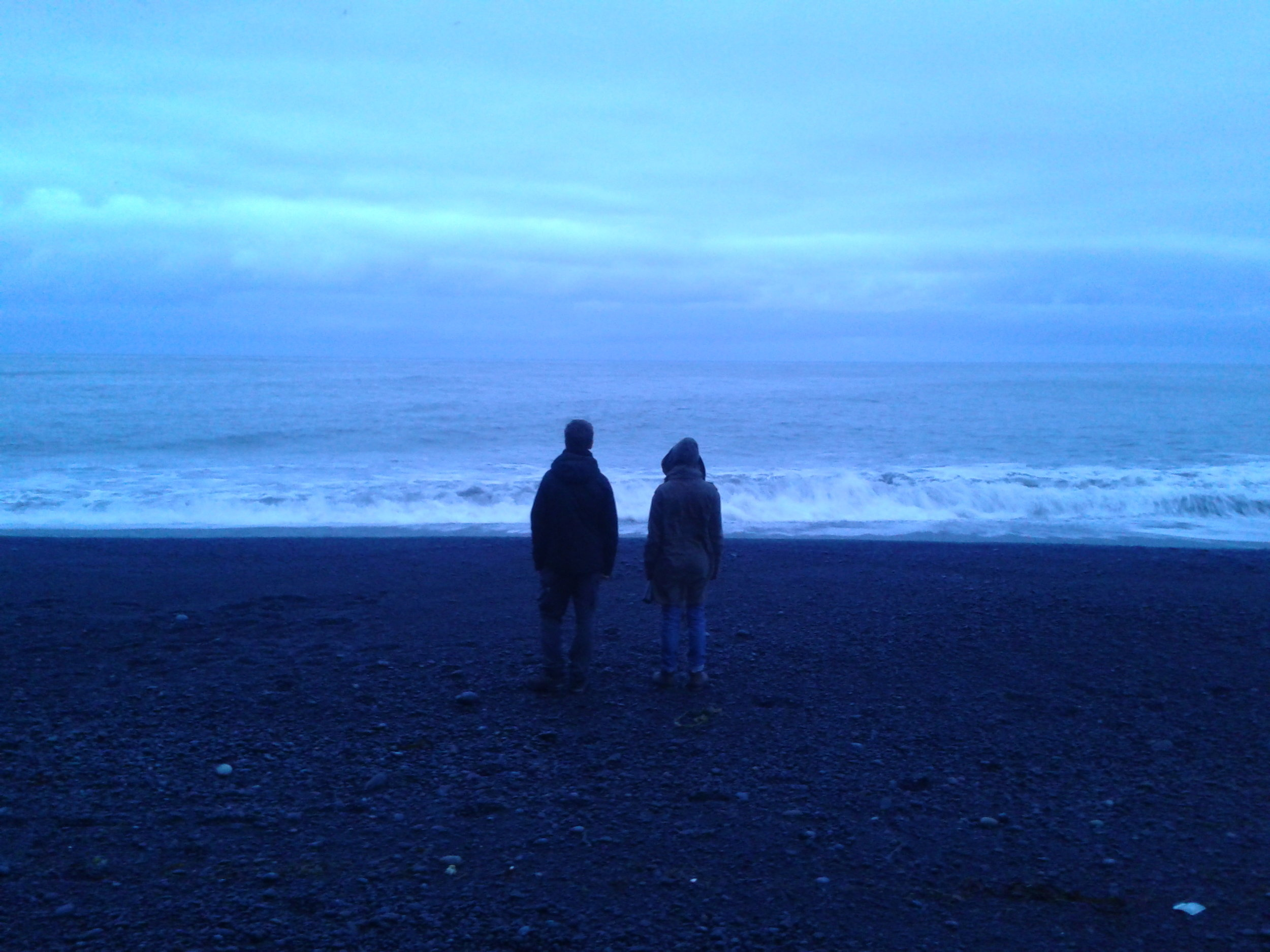 """Actor and director reflecting over the scene. Shooting of """"Q"""", Iceland 2016."""